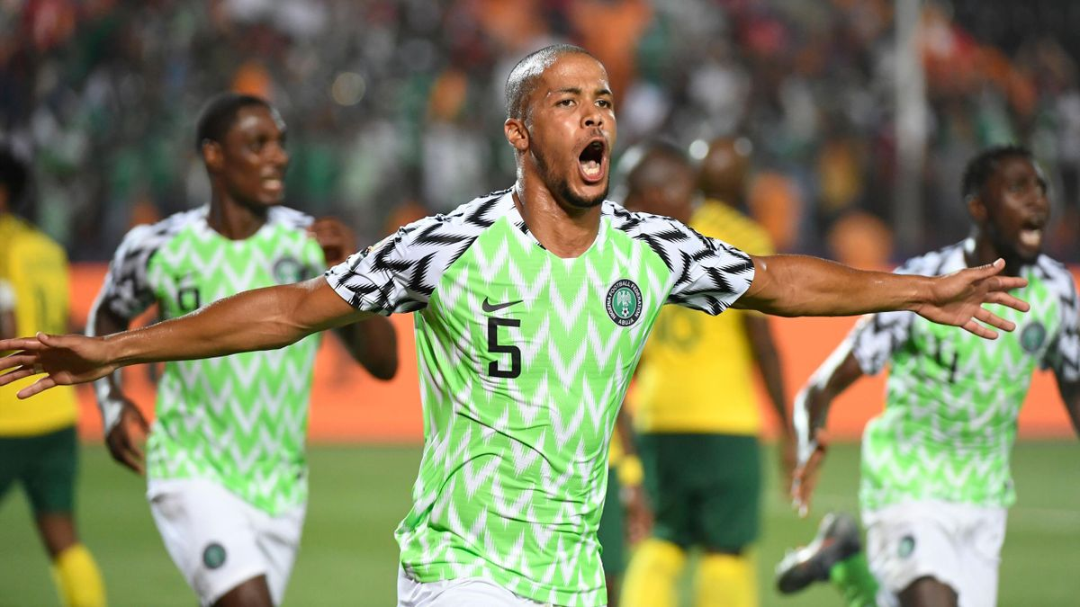 Nigeria's defender William Ekong celebrates his goal during the 2019 Africa Cup of Nations (CAN) quarter final football match between Nigeria and South Africa