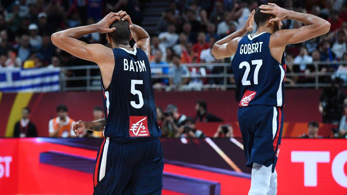 Nicolas Batum et Rudy Gobert lors d'Argentine - France, en demi-finale du Mondial 2019 de basket