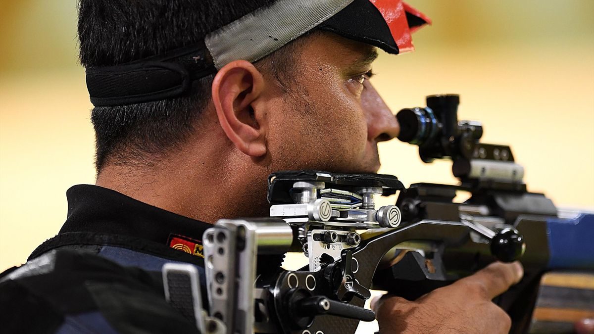 Sanjeev Rajput of India competes in the Men's 50m Rifle 3P final during Shooting on day 10 of the Gold Coast 2018 Commonwealth Games at Belmont Shooting Centre on April 14, 2018 in Brisbane, Australia