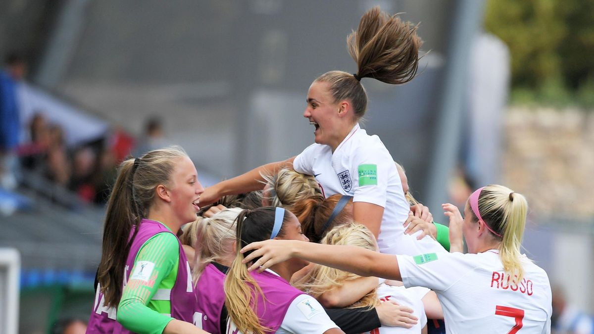 The Young Lionesses celebrate Georgia Stanway's goal