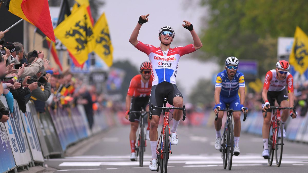 Arrival / Mathieu van der Poel of The Netherlands and Team Corendon - Circus Celebration / Michael Matthews of Australia and Team Sunweb / Julian Alaphilippe of France and Team Deceuninck - Quick-Step / Tim Wellens of Belgium and Team Lotto Soudal / durin