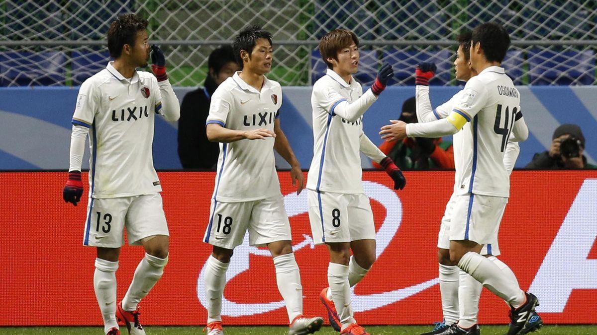 Kashima Antlers' Shouma Doi celebrates scoring their first goal from the penalty spot