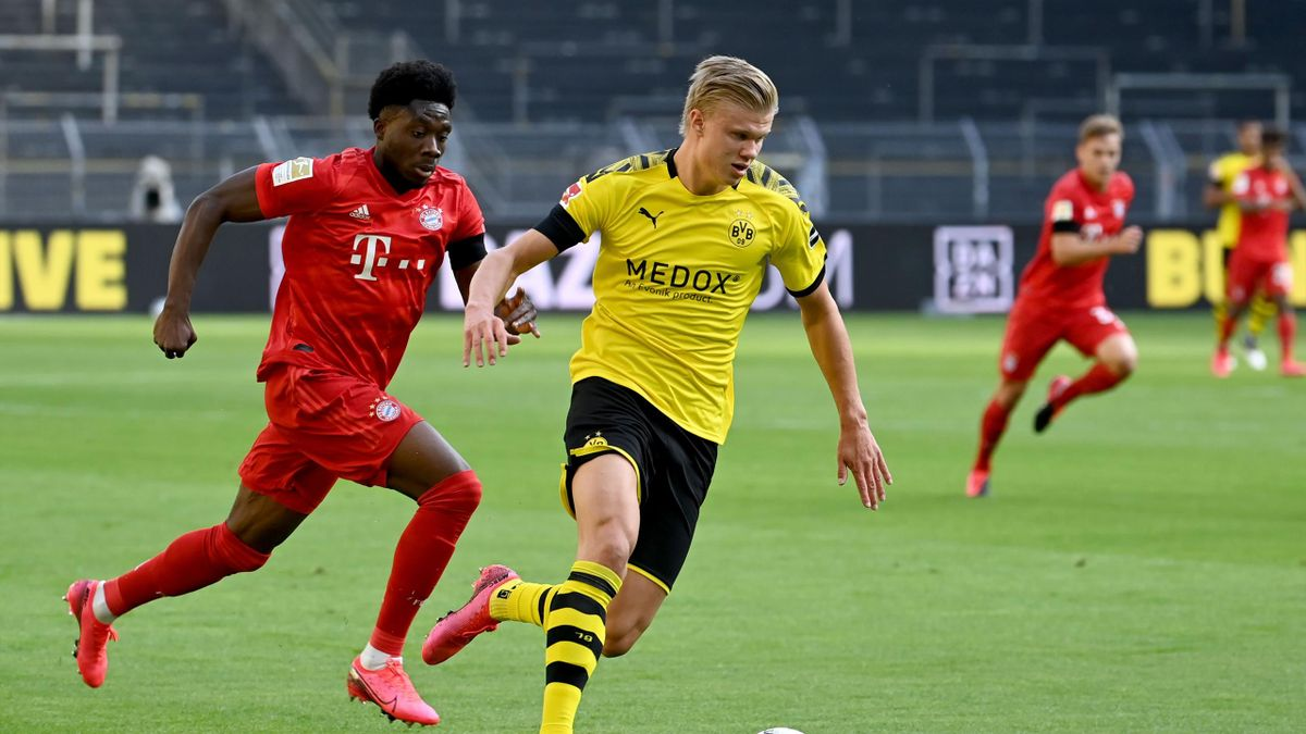 Alphonso Davies şi Erling Haaland, într-un Bayern-Dortmund