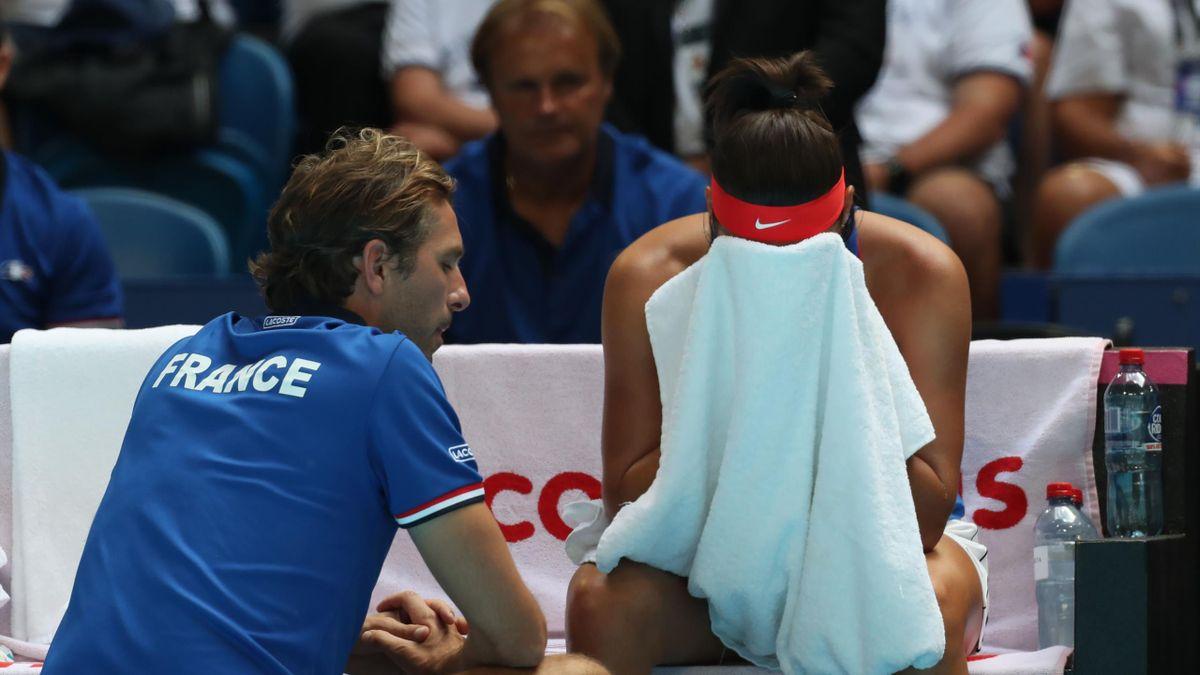 Julien Benneteau et Caroline Garcia à Perth en finale de la Fed Cup en 2019