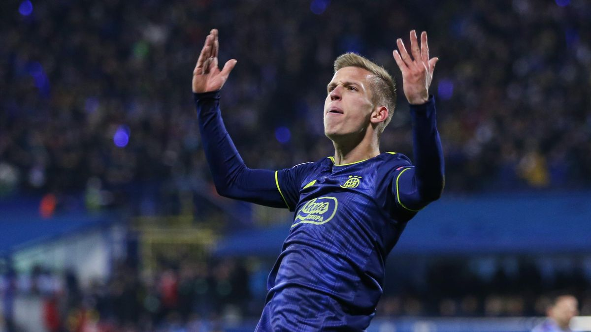 Dani Olmo of Dinamo Zagreb celebrates a goal during the UEFA Champions League group C match between Dinamo Zagreb and Manchester City at Maksimir Stadium
