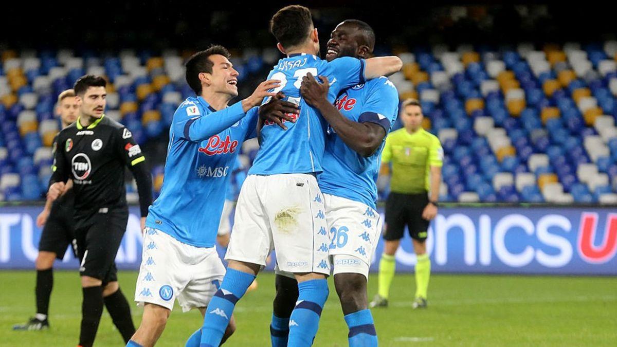 Koulibaly a deschis scorul în victoria cu 4-2 a celor de la Napoli împotriva Speziei, în sferturile de finală ale Cupei Italeiei
