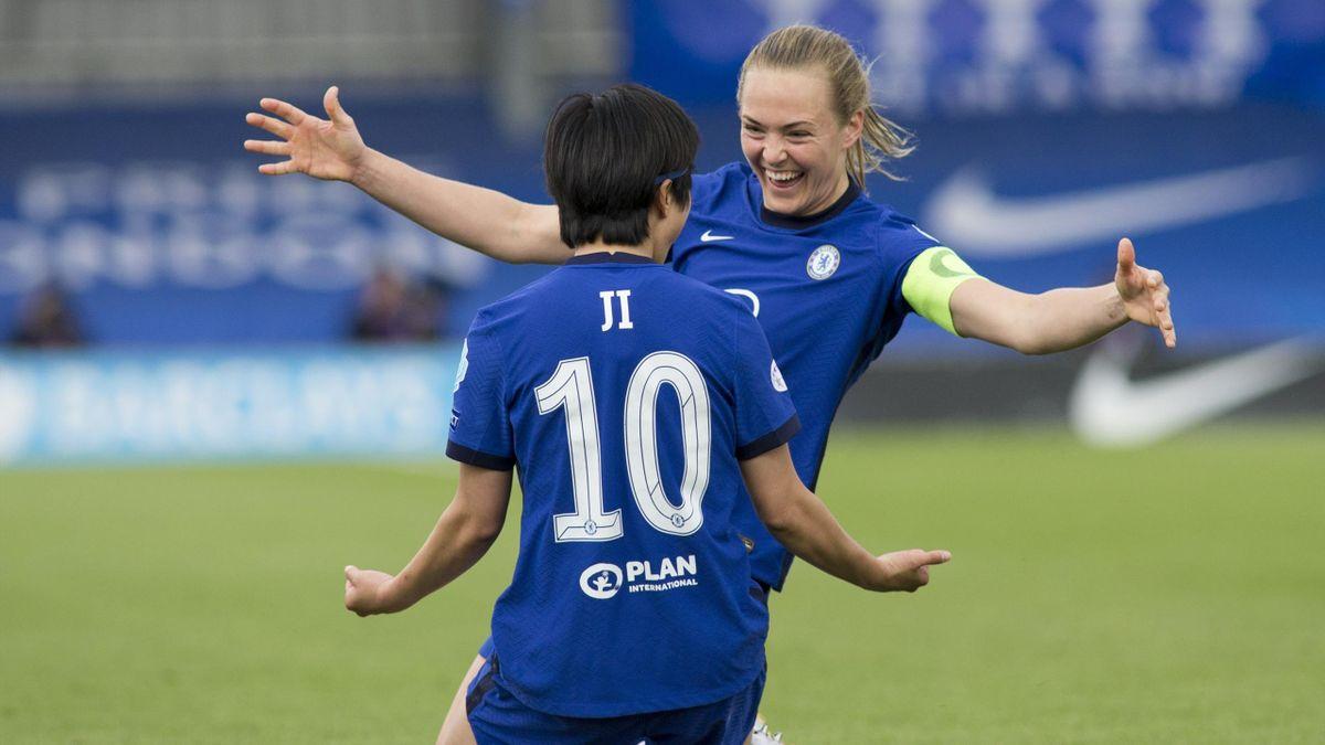 Ji So-Yun après son but lors du match opposant Chelsea au Bayern Munich, en Ligue des champions féminine