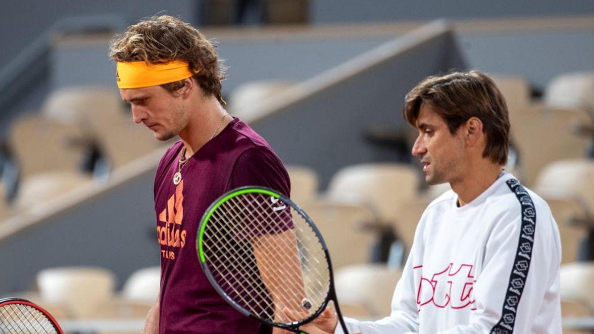 Alexander Zverev (L) and David Ferrer (R)