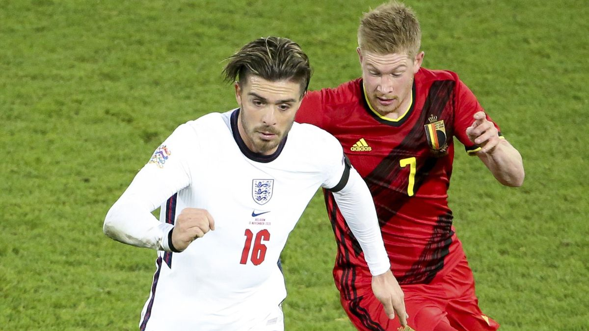 Jack Grealish played in England's defeat to Kevin De Bruyne and Belgium earlier this month