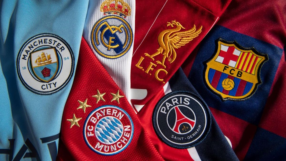 The badges of Manchester City, Bayern Munich, Real Madrid, Liverpool, Paris St-Germain and FC Barcelona, the top teams in the Champions League on October 20, 2020