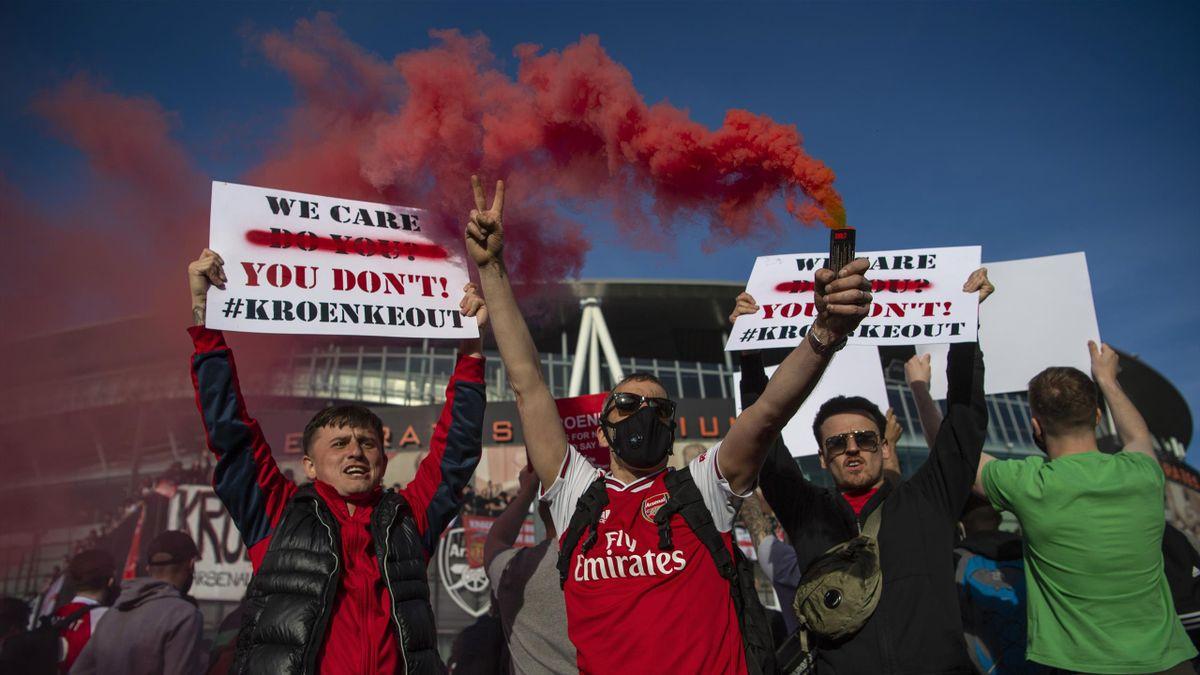Les supporters d'Arsenal manifestent contre le propriétaire du club en 2021