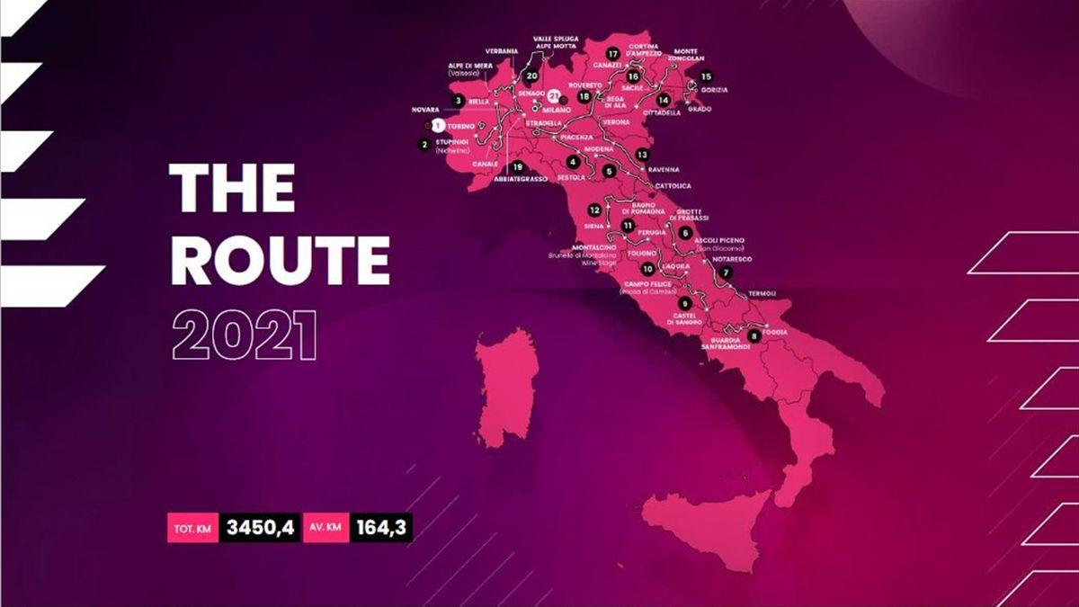 Giro-Strecke 2021: Alle 21 Etappen in der 3D-Animation