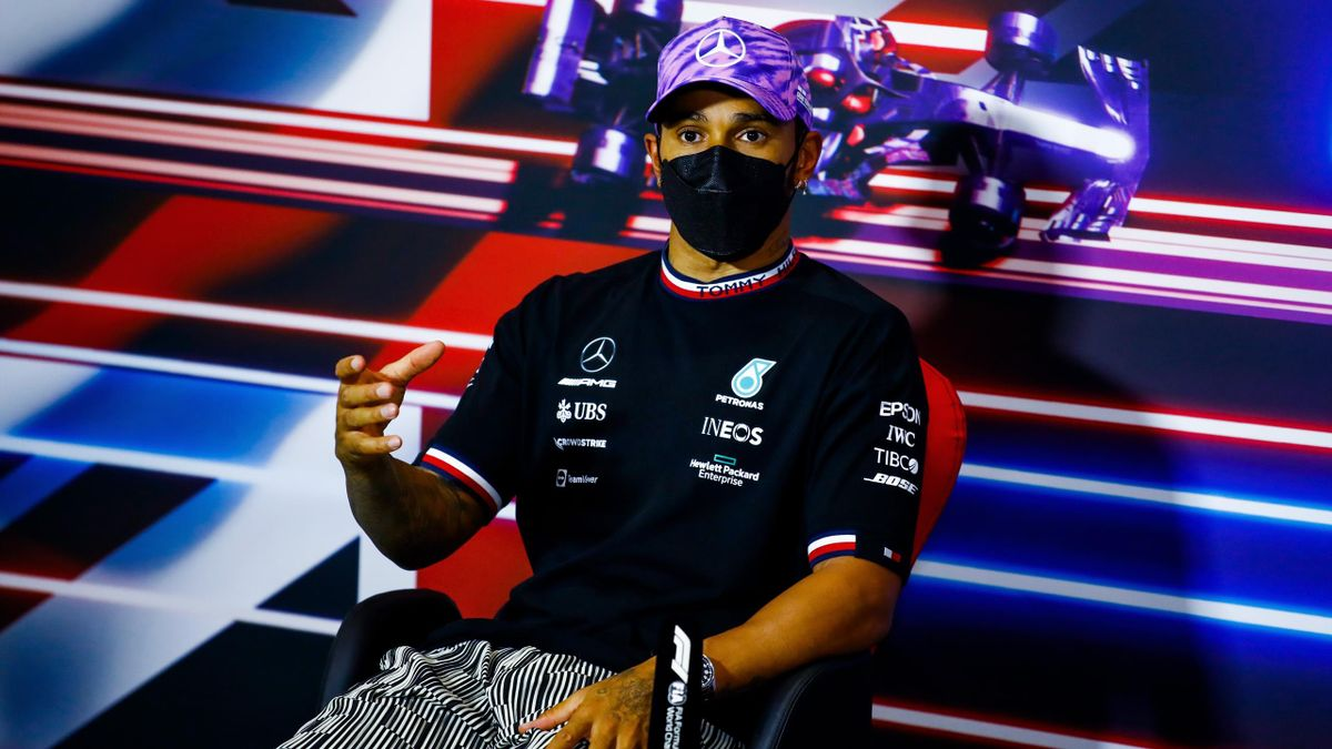 Second placed Lewis Hamilton of Great Britain and Mercedes GP talks in the press conference after the Sprint for the F1 Grand Prix of Great Britain at Silverstone