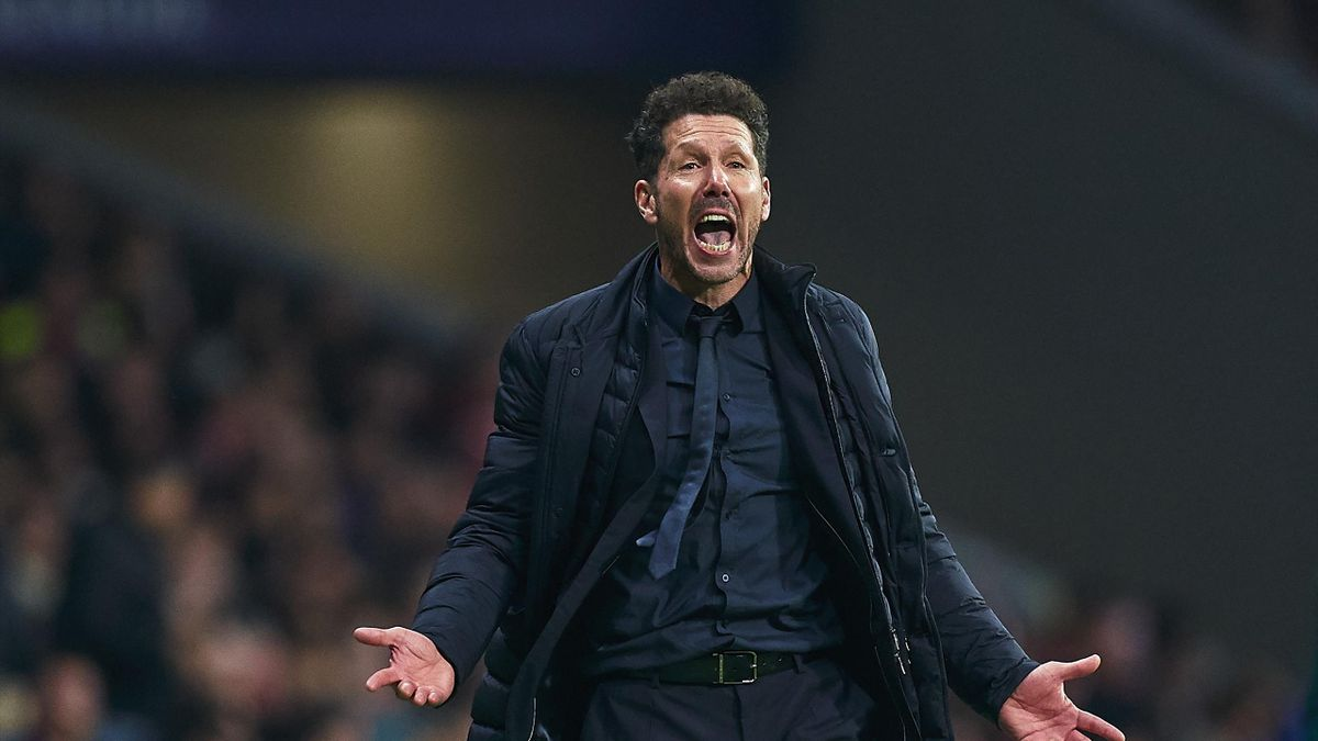 Diego Pablo Simeone, head coach of Atletico de Madrid during the UEFA Champions League round of 16 first leg match between Atletico Madrid and Liverpool FC at Wanda Metropolitano on February 18, 2020 in Madrid, Spain