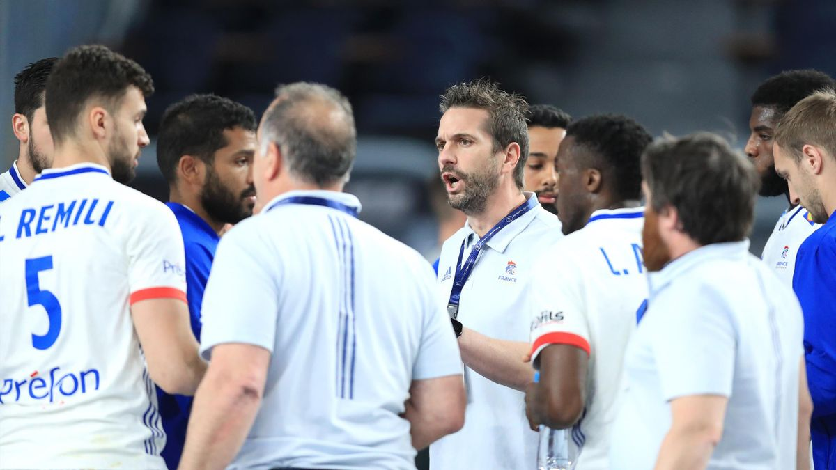 Guillaume Gille lors de France - Suède en dmei-finale des Mondiaux 2021