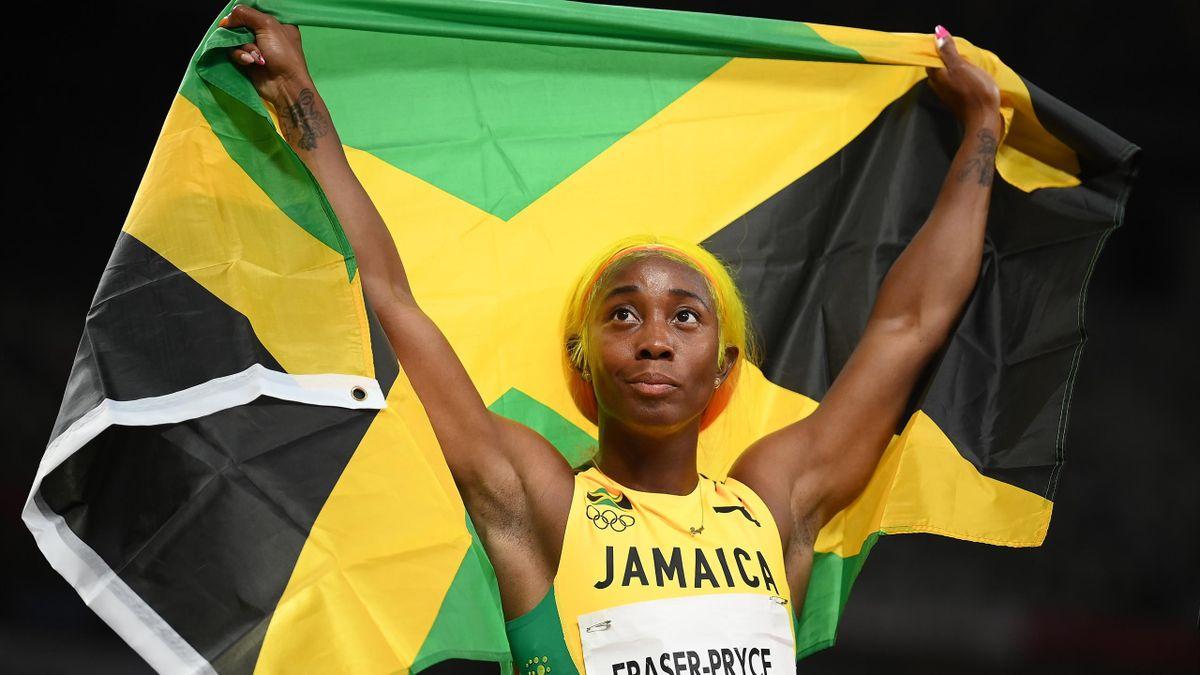 Shelly-Ann Fraser-Pryce après le 100 mètres des Jeux Olympiques de Tokyo, le 31 juillet 2021