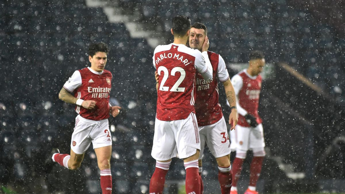 Pablo Mari and Granit Xhaka of Arsenal interact prior to the Premier League match between West Bromwich Albion and Arsenal at The Hawthorns