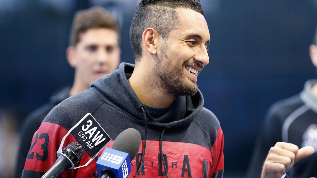 Nick Kyrgios speaks to the media during an Australian Open announcement at Melbourne Park