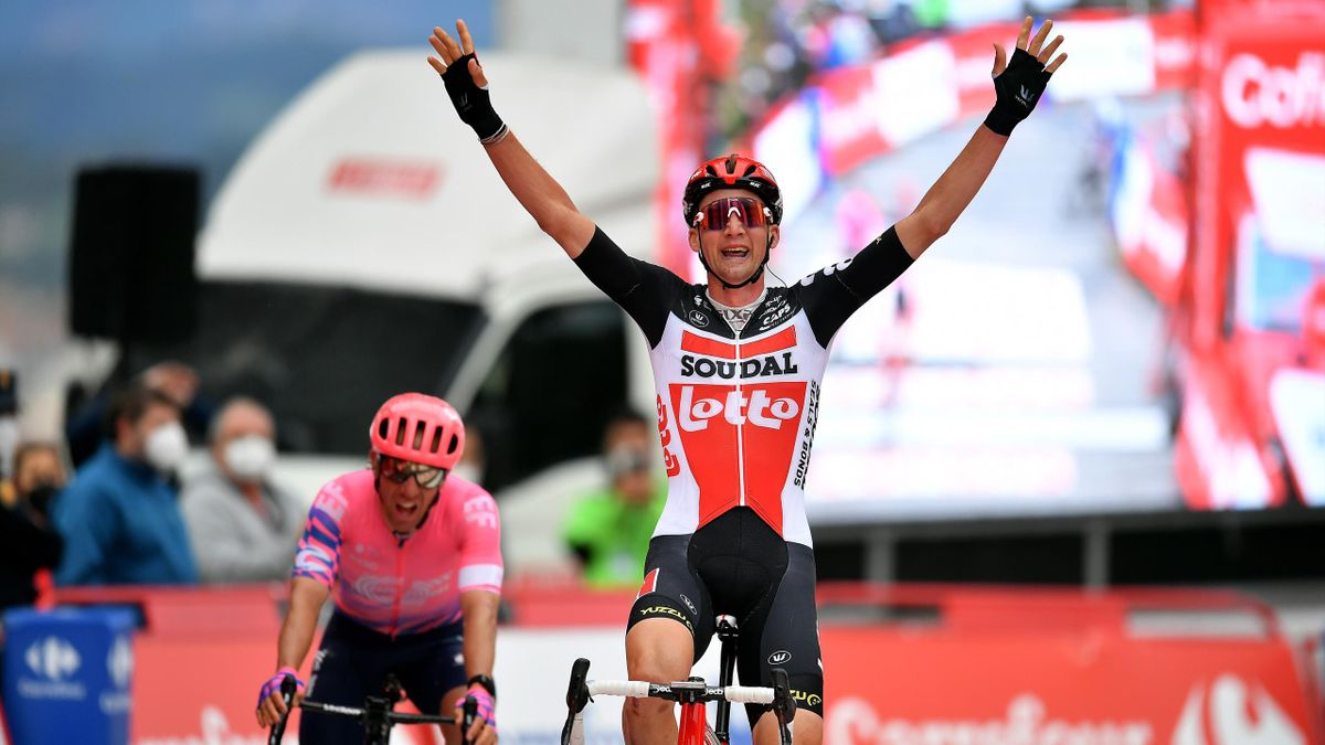 Tim Wellens of Belgium and Team Lotto Soudal / Celebration / Michael Woods of Canada and Team EF Pro Cycling / during the 75th Tour of Spain 2020, Stage 14 a 204,7km stage from Lugo to Ourense / @lavuelta / #LaVuelta20 / La Vuelta