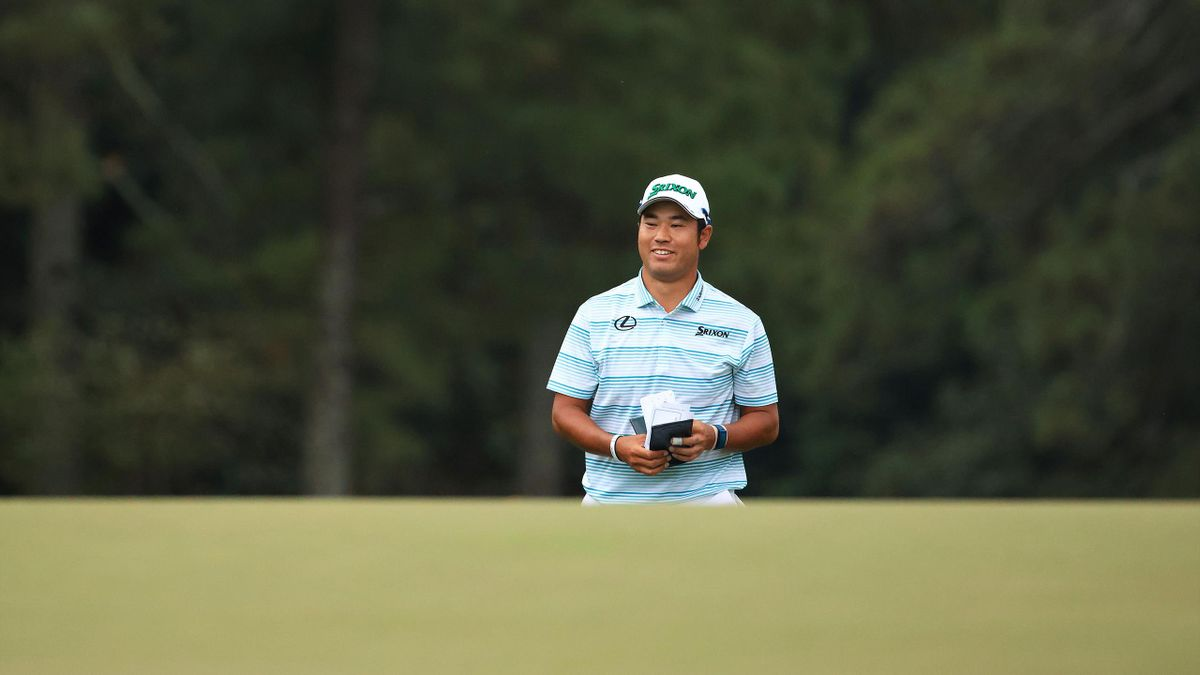 Hideki Matsuyama of Japan walks to the 18th green during the third round of the Masters at Augusta National Golf Club on 10 April, 2021 in Augusta, Georgia.