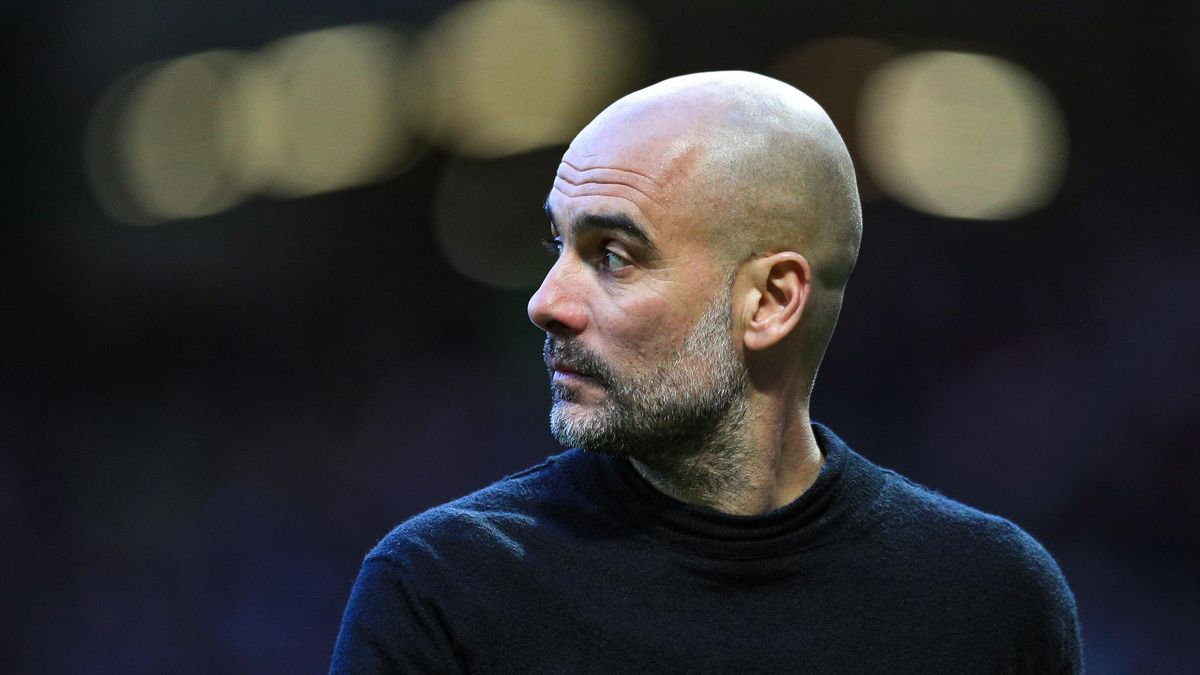 Pep Guardiola, Manager of Manchester City looks on during the Premier League match between Manchester United and Manchester City at Old Trafford on March 08, 2020 in Manchester, United Kingdom.