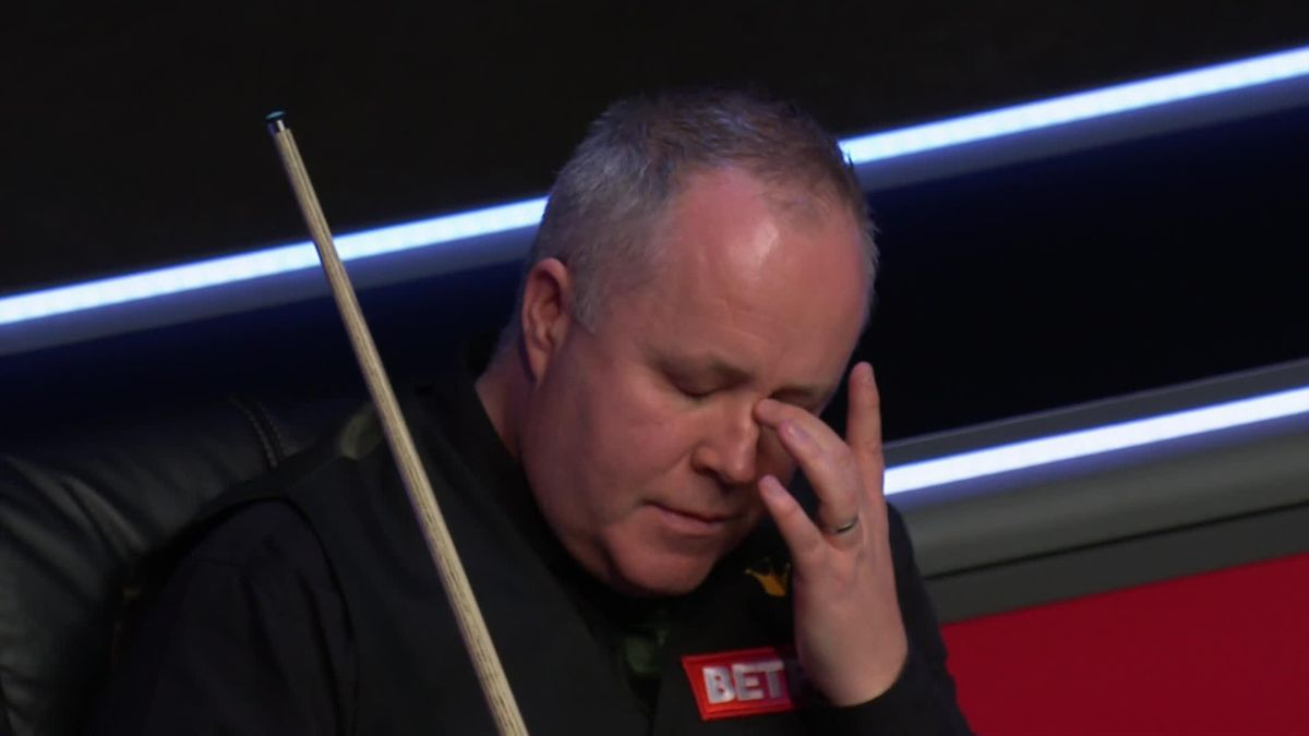John Higgins reacts at the 2021 Masters