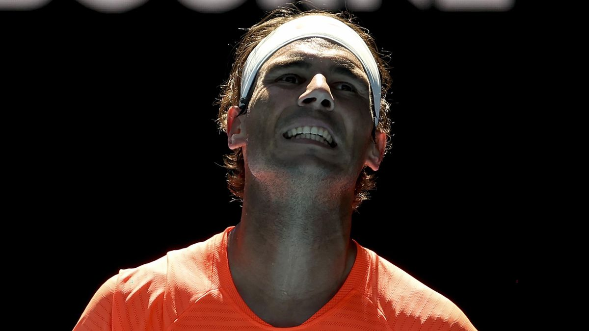 Spain's Rafael Nadal reacts after a point against Serbia's Laslo Djere during their men's singles match on day two of the Australian Open tennis tournament in Melbourne on February 9