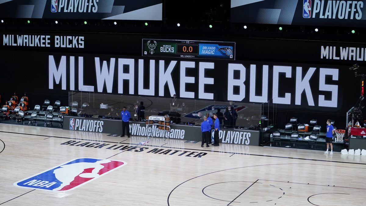 The benches are empty at the scheduled start of the first half of game five between the Orlando Magic and the Milwaukee Bucks in the first round of the 2020 NBA Playoffs
