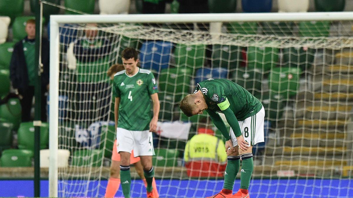 Tom Flanagan and Steven Davis of Northern Ireland look dejected