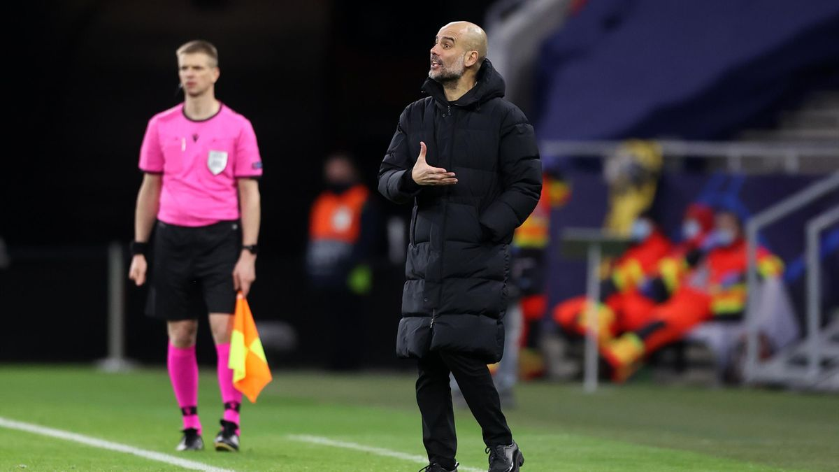Pep Guardiola, Manager of Manchester City reacts during the UEFA Champions League Round of 16 match between Manchester City and Borussia Moenchengladbach at Puskas Arena on March 16, 2021 in Budapest, Hungary.