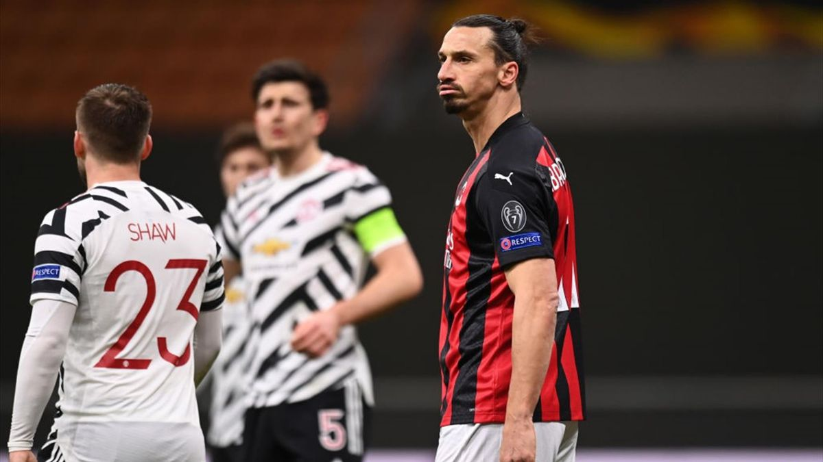 Ibrahimovic non soddisfatto durante Milan-Manchester United - Europa League 2020/2021 - Getty Images