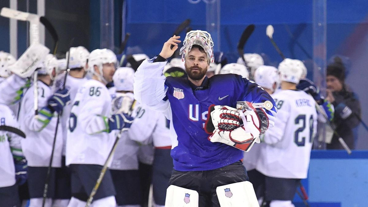 Ryan Zapolski #30 of the United States reacts after giving up the game winning goal to Jan Mursak #39 of Slovenia in overtime of the Men's Ice Hockey Preliminary Round Group B game on day five of the PyeongChang 2018 Winter Olympics at Kwandong Hockey Cen