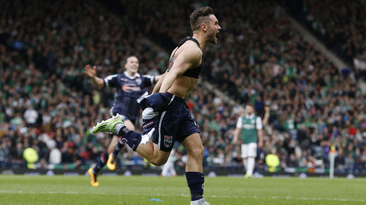 Ross County's Alex Schalk celebrates scoring their second goal