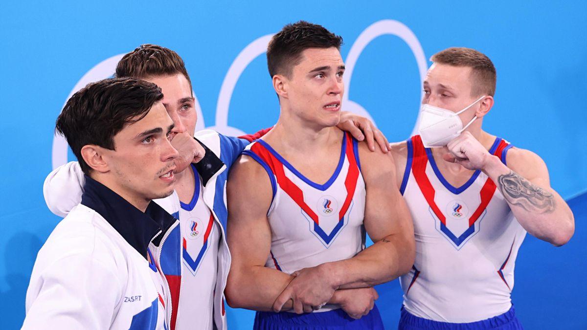 Российские гимнасты в ожидании баллов
