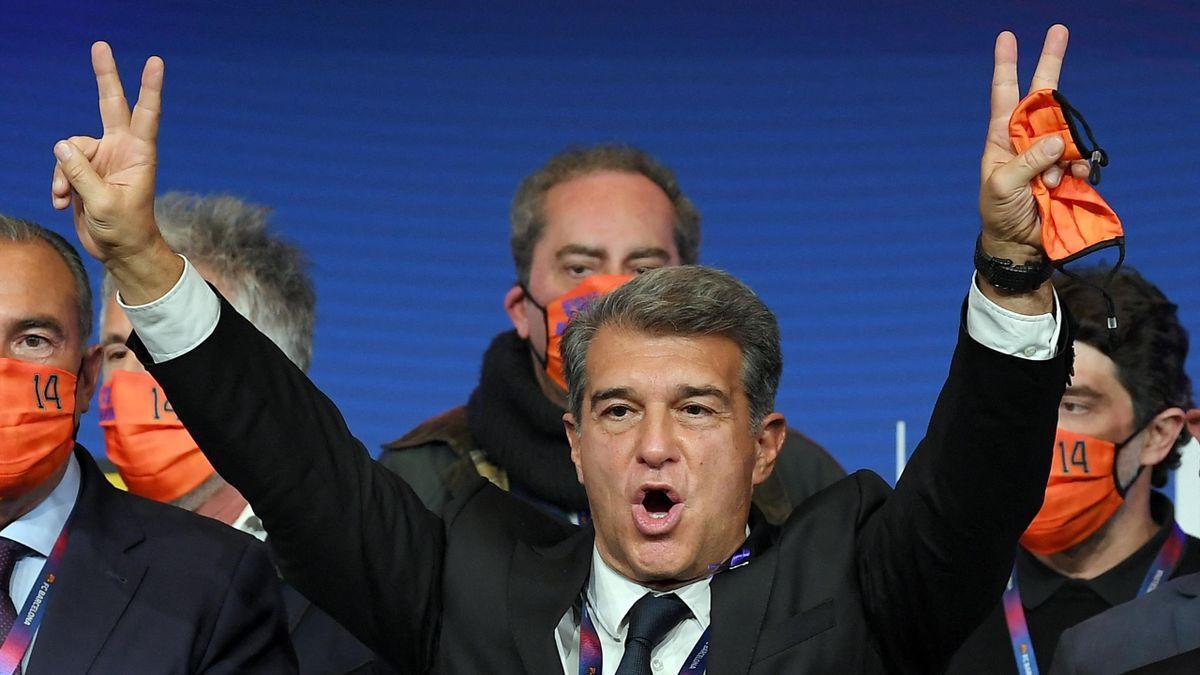 Joan Laporta le jour de son élection à la présidence du FC Barcelone, le 7 mars 2021