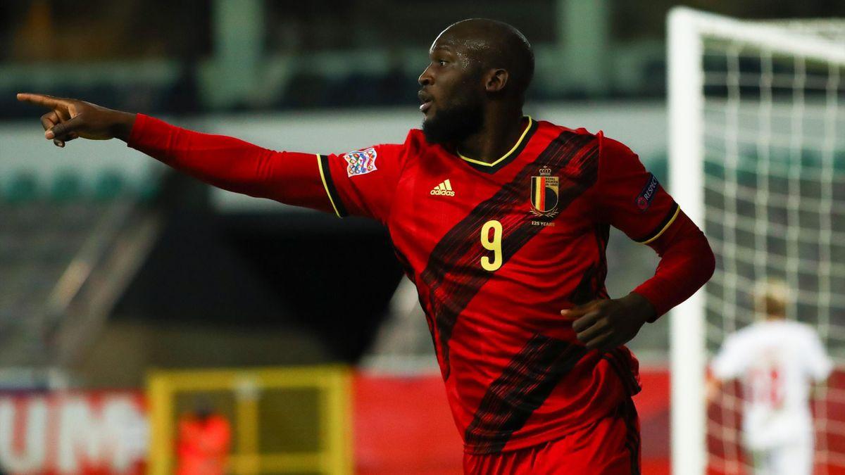 Romelu Lukaku celebrates scoring for Belgium