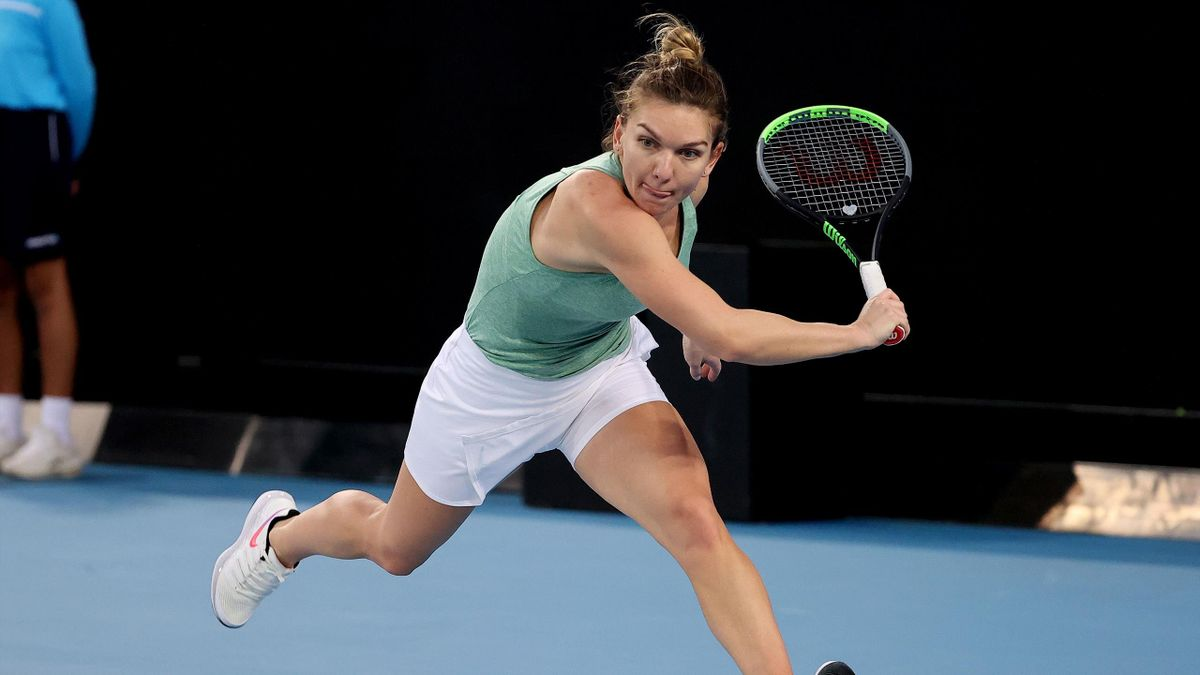 Simona Halep of Romania hits a return against Anastasia Potapova of Russia during their second round Gippsland Trophy women's singles tennis match in Melbourne on February 1, 2021.