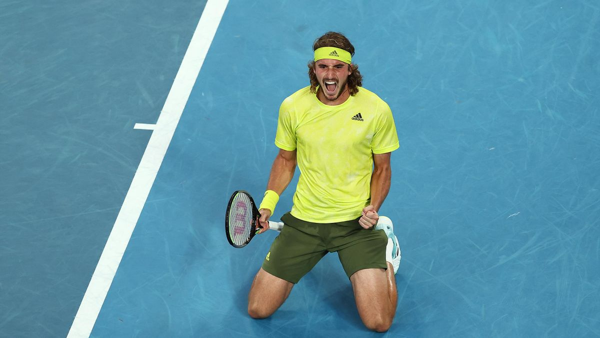 Stefanos Tsitsipas of Greece celebrates winning match point in his Men's Singles second round match against Thanasi Kokkinakis of Australia during day four of the 2021 Australian Open at Melbourne Park