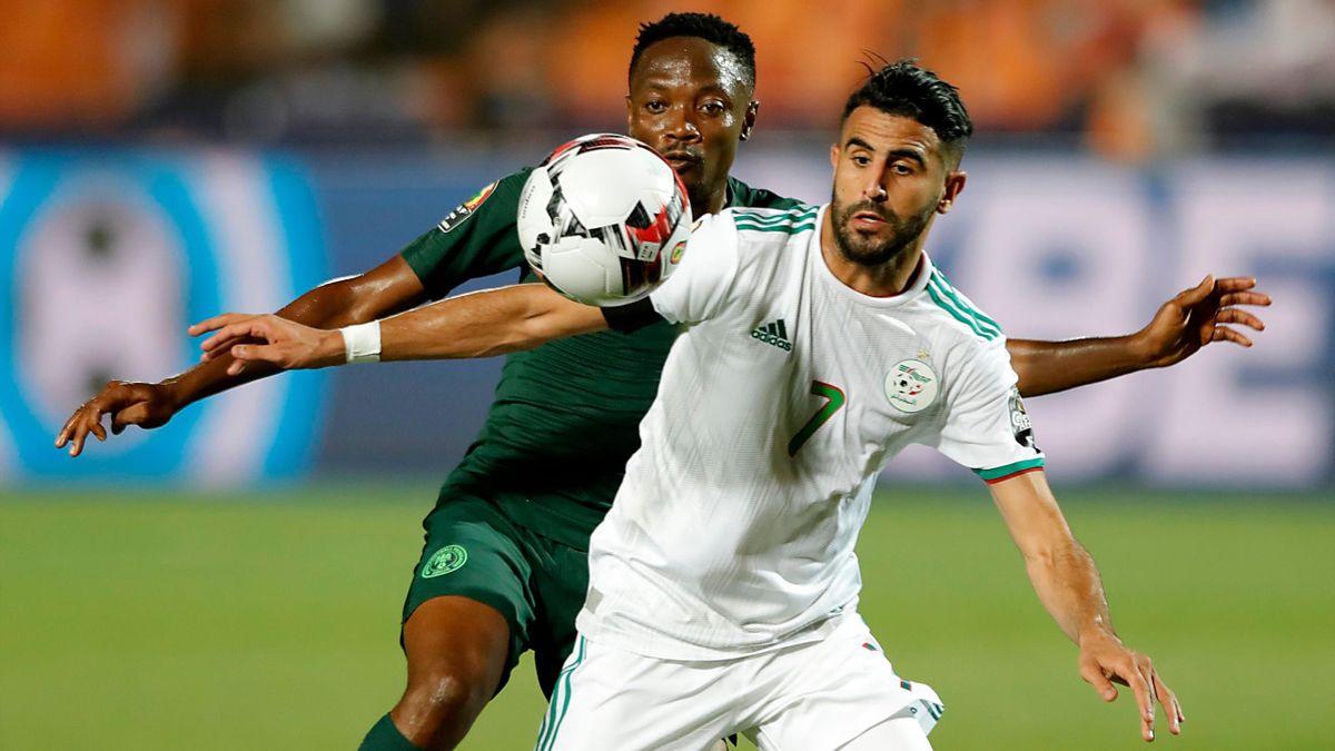 Mahrez face à Musa lors d'Algérie - Nigeria en demi-finale de la CAN 2019.