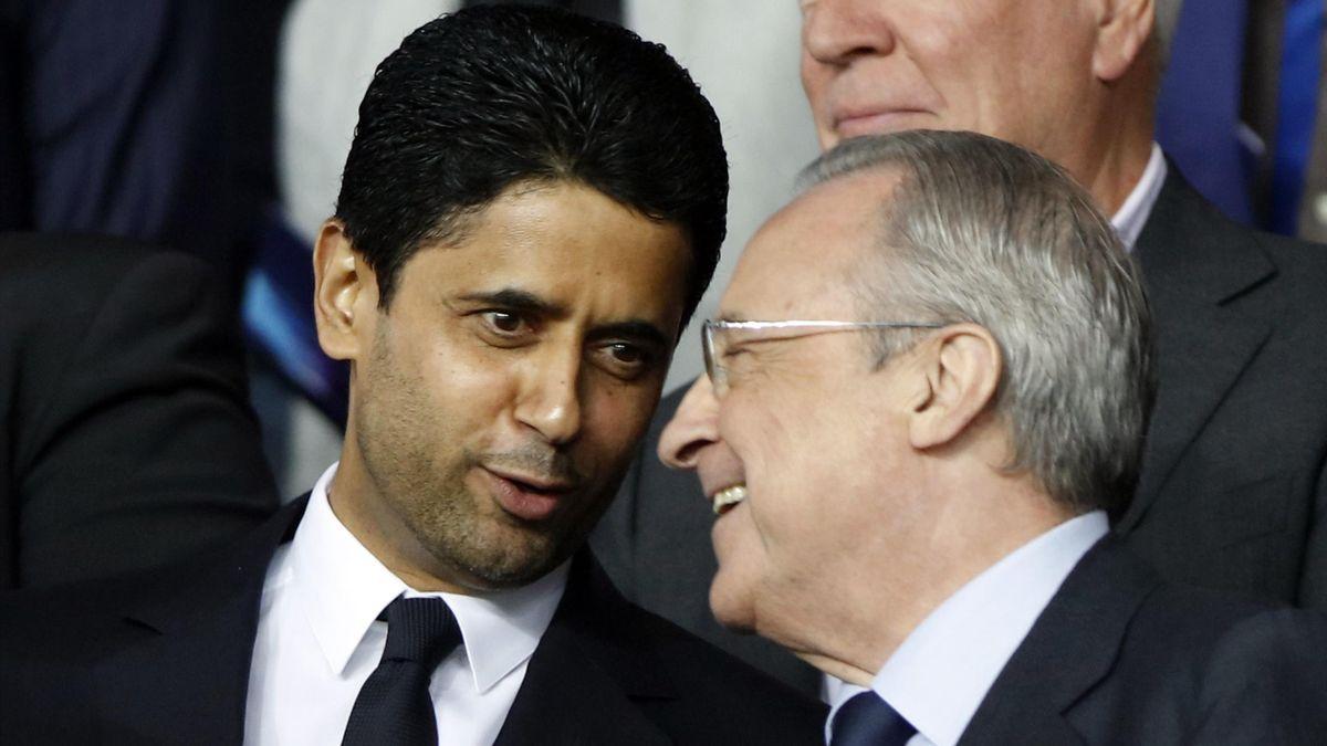 Nasser Al-Khelaïfi et Florentino Perez lors du match PSG-Real Madrid en Ligue des champions.