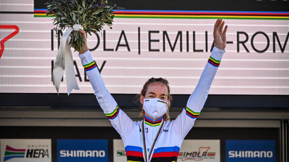 Netherlands' Anna van der Breggen celebrates on the podium after winning the Women's Elite Road Race, a 143-kilometer route around Imola, Emilia-Romagna, Italy, on September 26, 2020 as part of the UCI 2020 Road World Championships