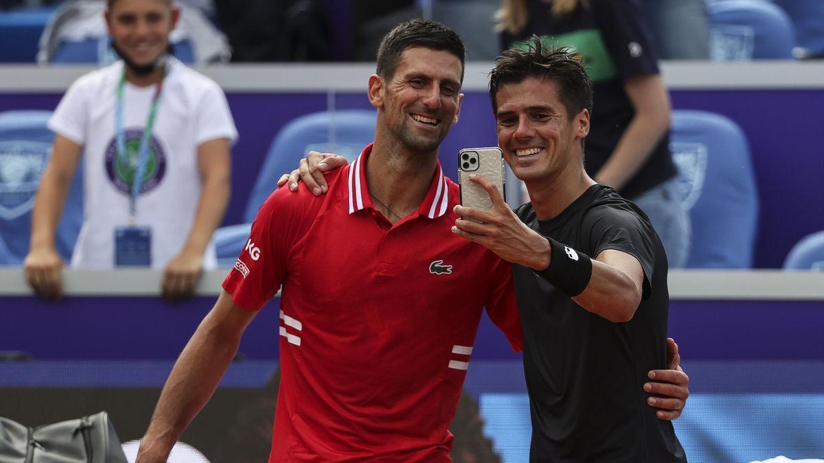 Novak Djokovic und Federico Coria