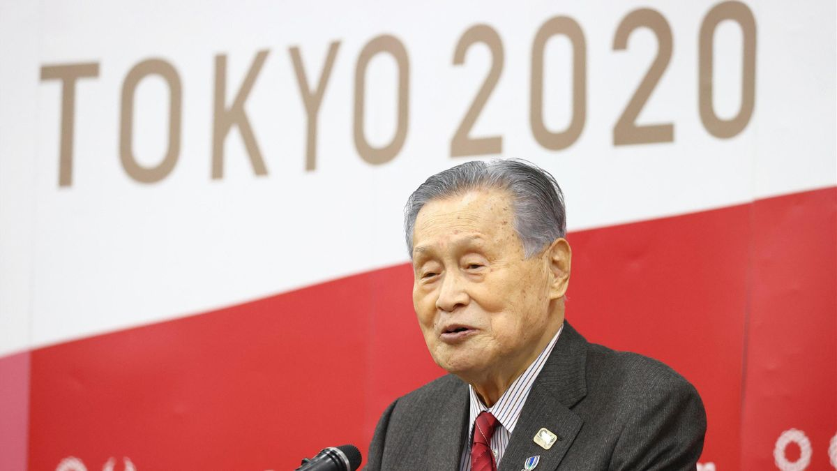 Tokyo 2020 Olympic and Paralympic Games Organising Committee President Yoshiro Mori addresses in front of senior staffs on January 12, 2021 in Tokyo, Japan