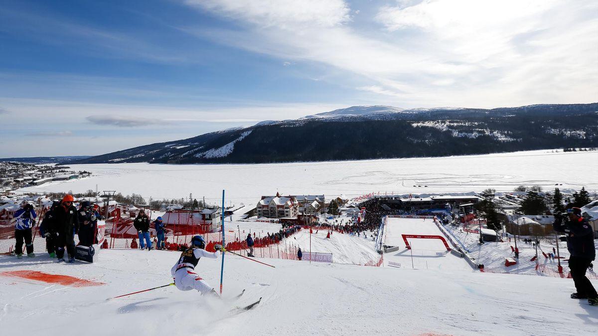 L'Autrichienne Bernadette Schild lors des finales de la Coupe du monde de slalom en 2018 à Are (Suède)