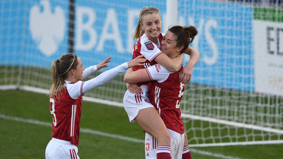 Arsenal's Jennifer Beattie celebrates with Jordan Nobbs and Leah Williamson in Women's Super League action against Everton