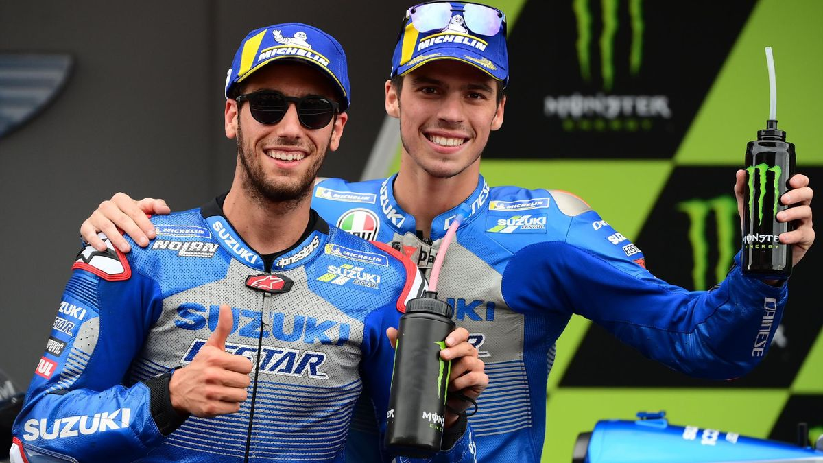 Alex Rins, Joan Mir esultano per il podio in rimonta strappato in Catalogna, Getty Images