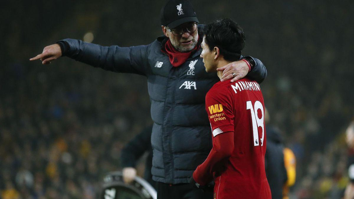 Jürgen Klopp und Takumi Minamino (FC Liverpool).