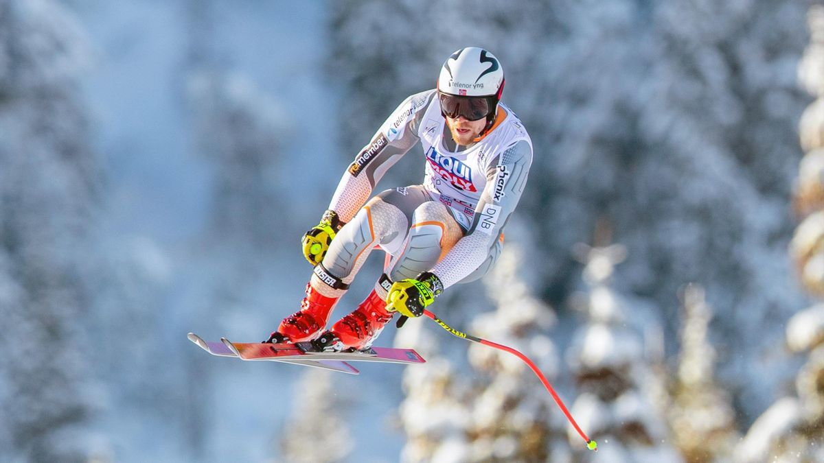 Norway's Aleksander Aamodt Kilde competes during a training session for the Men´s Downhill event of the FIS Alpine Skiing World Cup in Kvitfjell, Norway, on March 5 2020