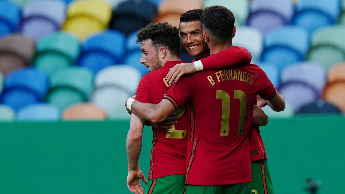 Cristiano Ronaldo, Diogo Jota et Bruno Fernandes lors du match amical opposant le Portugal à Israël, le 9 juin 2021