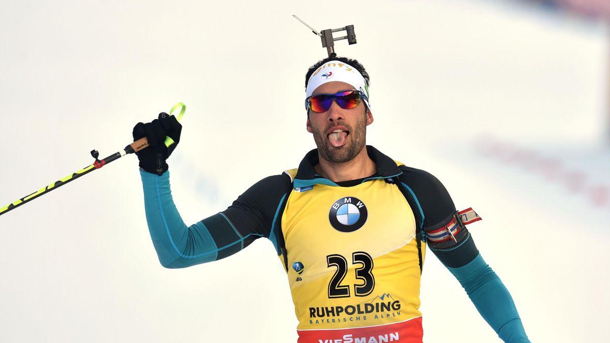 Fourcade célèbre sa victoire sur l'individuel 20km de Ruhpolding